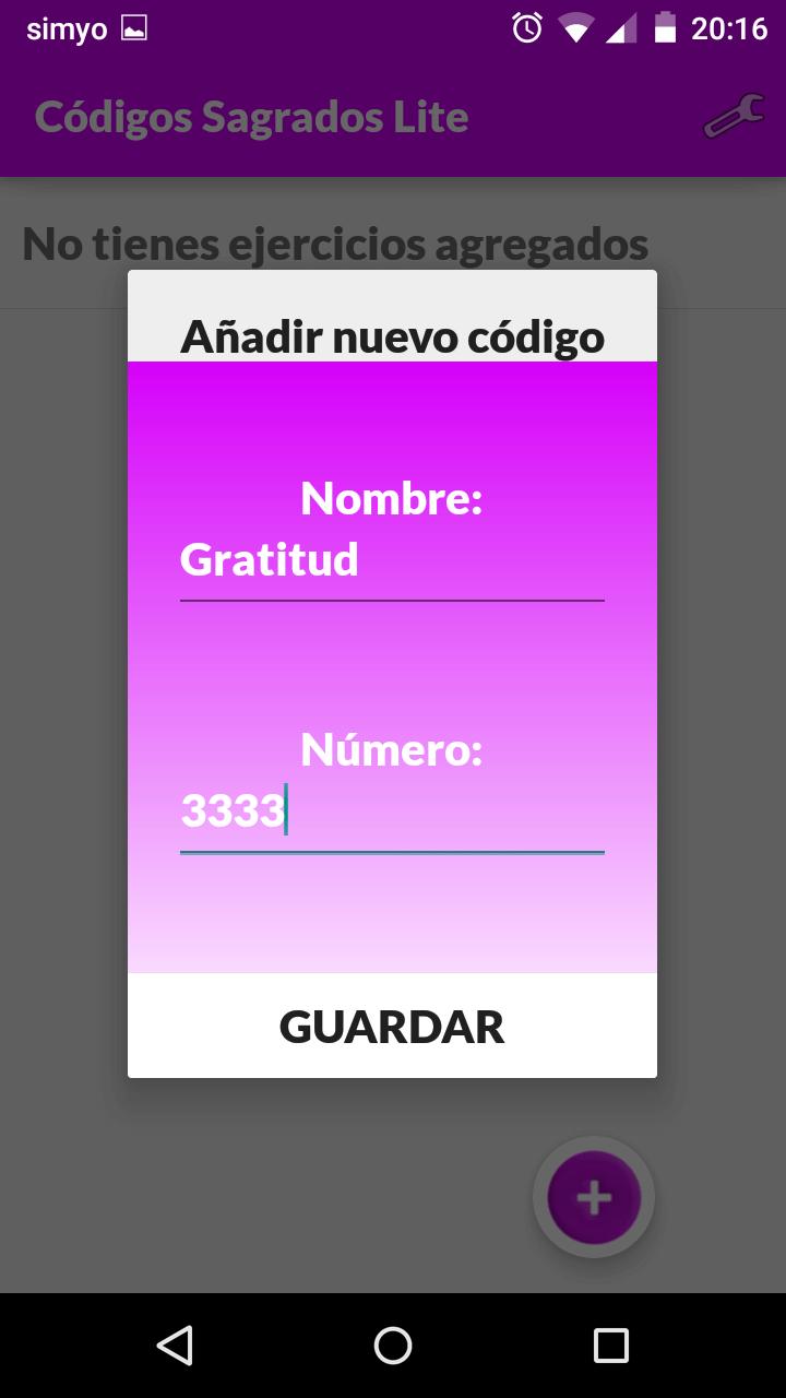 App códigos sagrados agregar número