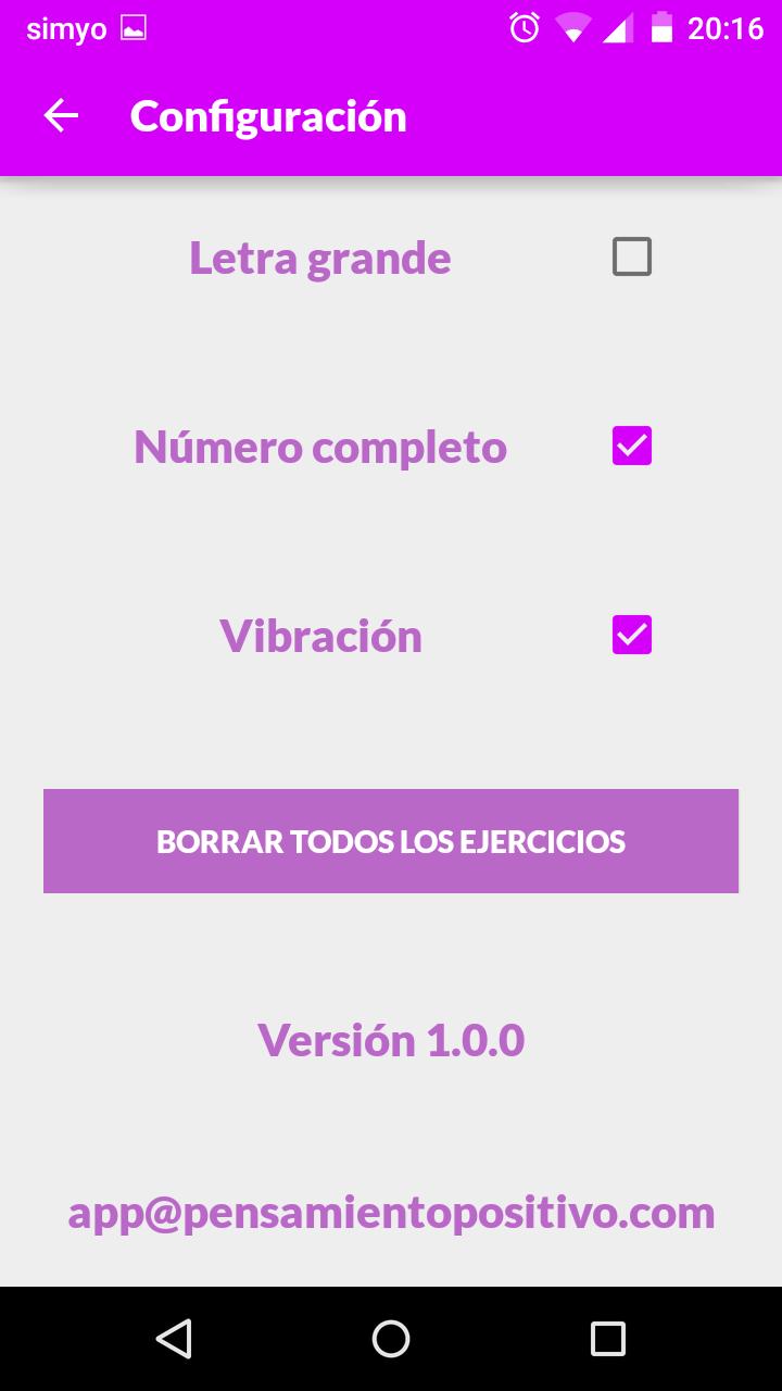 Captura de pantalla de la configuración de la APP Códigos Sagrados
